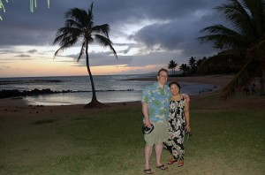 jim and celia poipu sunset by angel